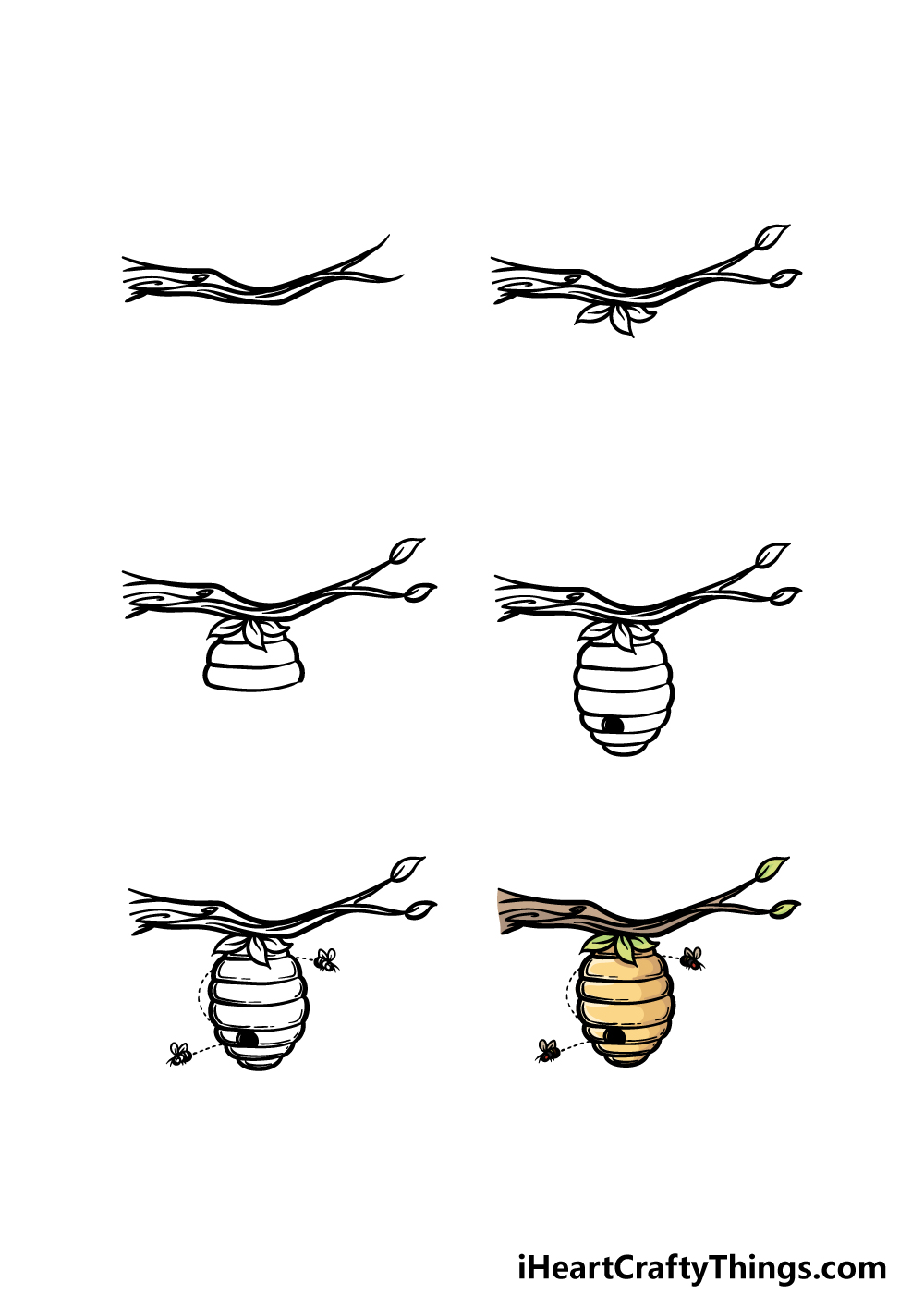 how to draw Beehive in 6 steps