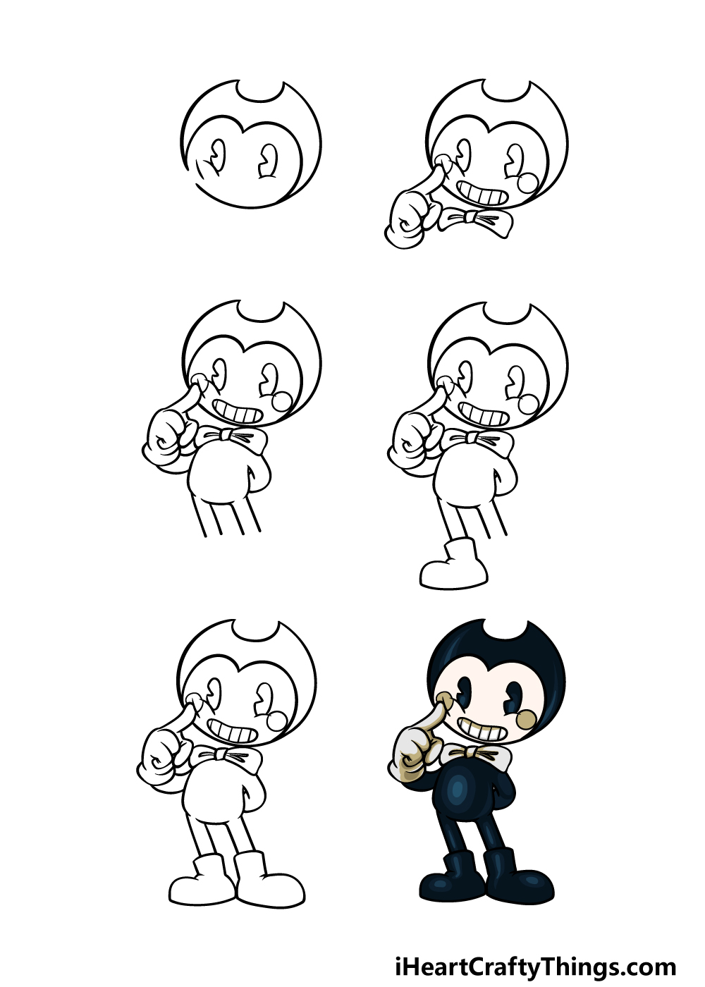 how to draw Bendy in 6 steps