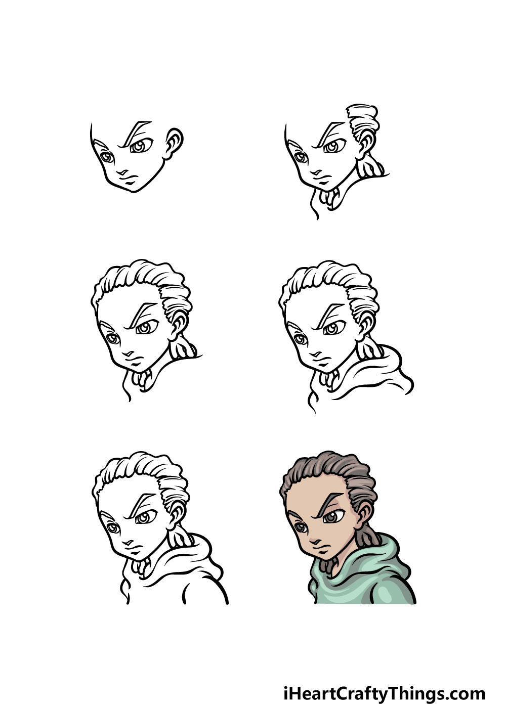 how to draw Boondocks in 6 steps