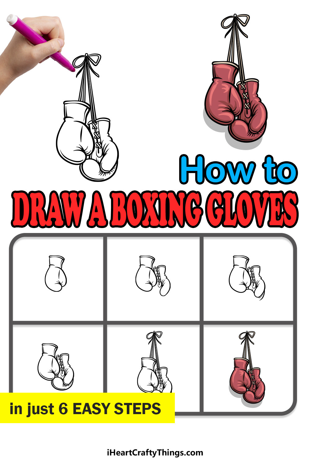 how to draw a boxing gloves in 6 easy steps