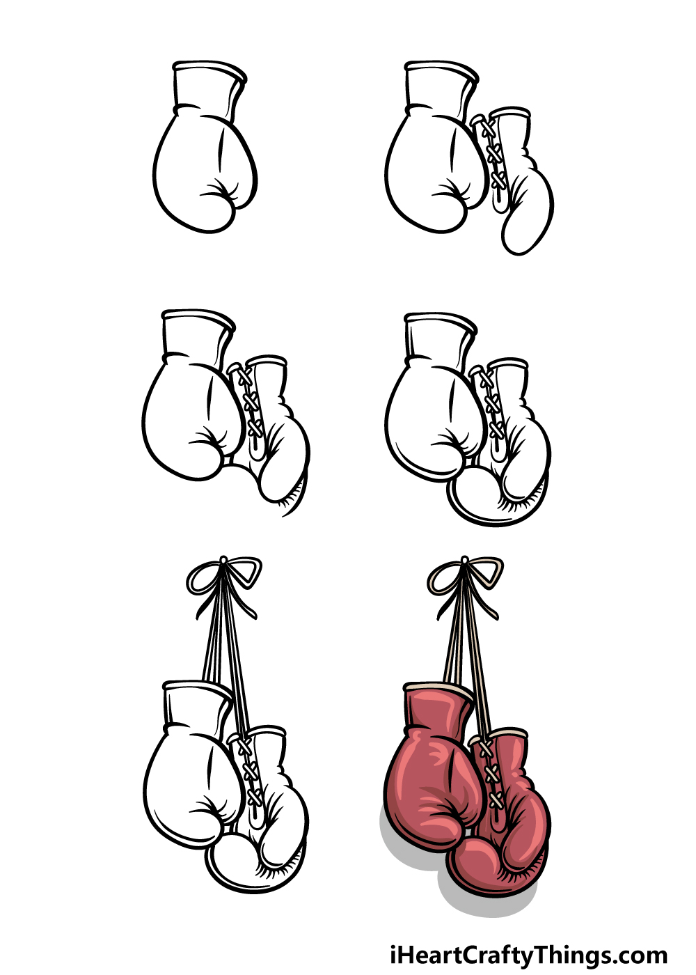 how to draw boxing gloves in 6 steps
