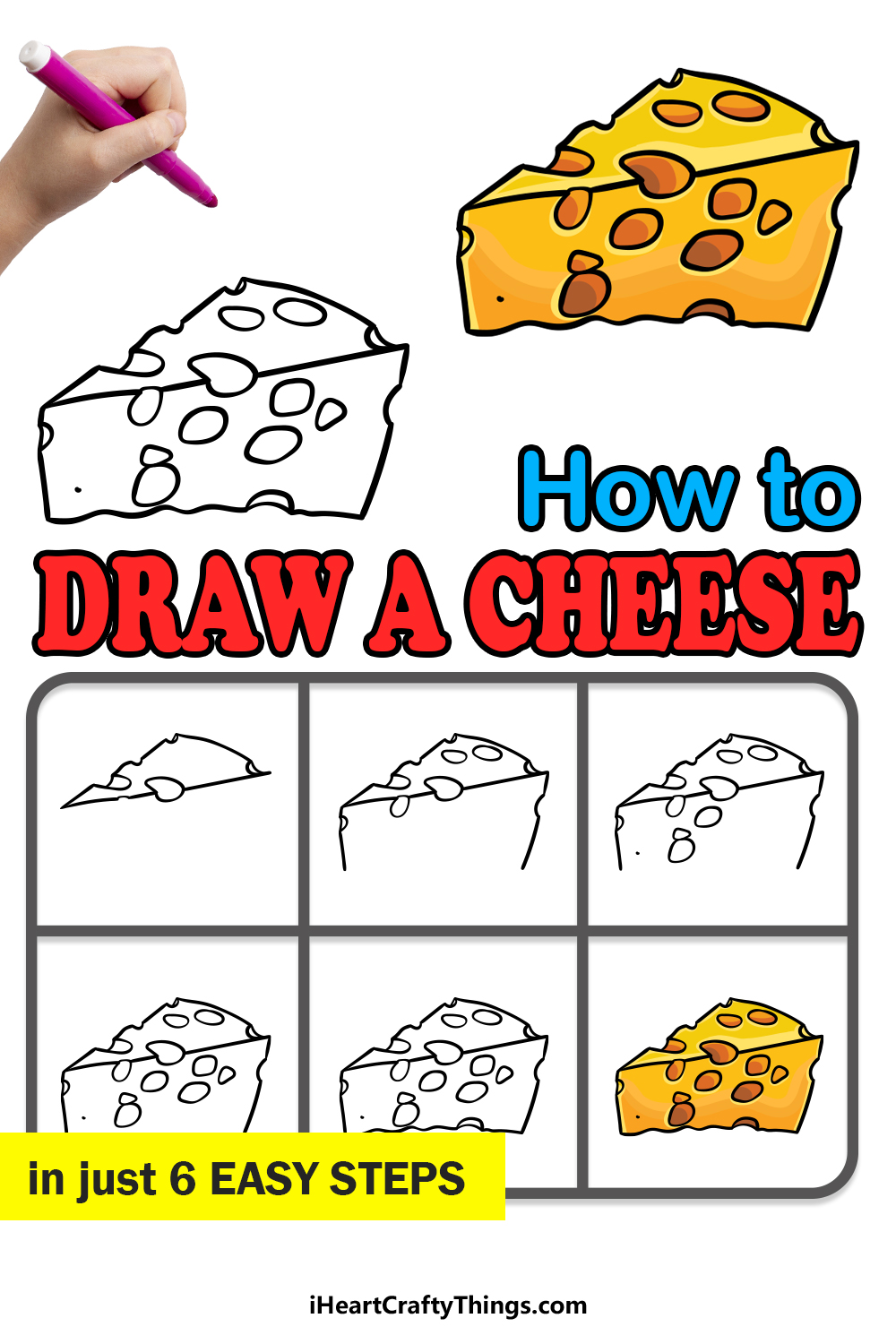 how to draw a cheese in 6 easy steps