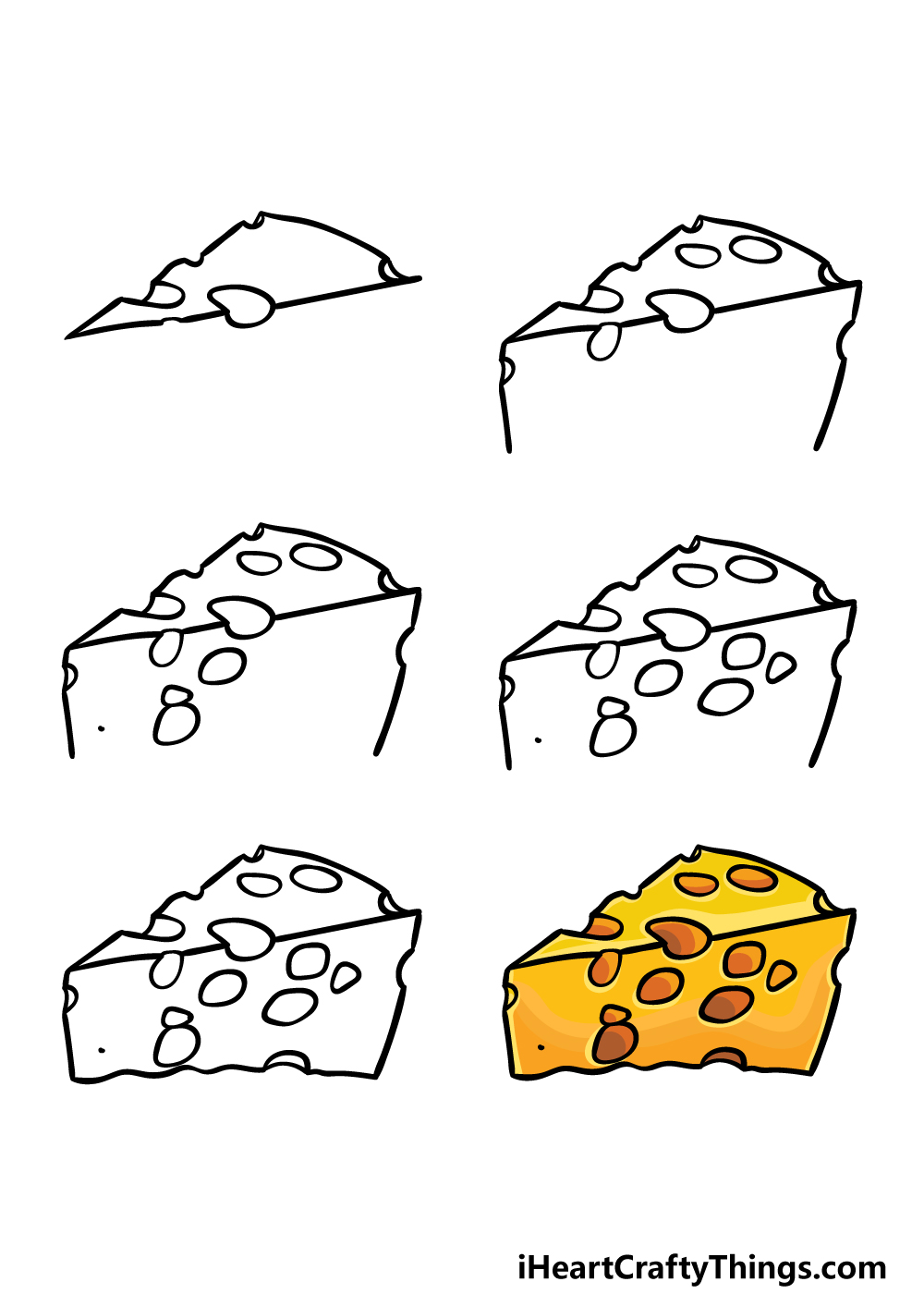how to draw cheese in 6 steps