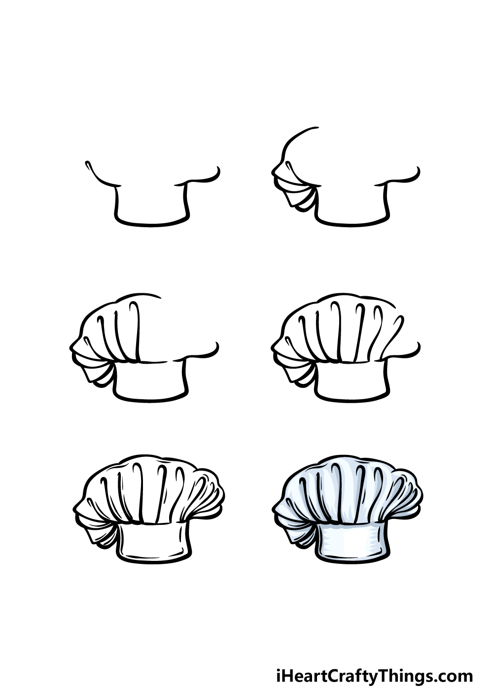 how to draw a chef's hat in 6 steps