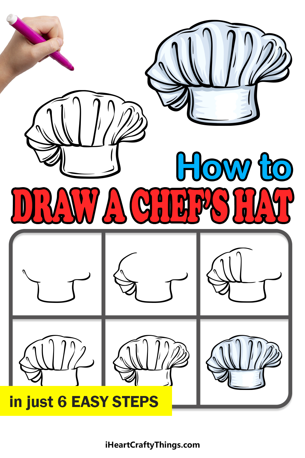 how to draw a chef's hat in 6 easy steps