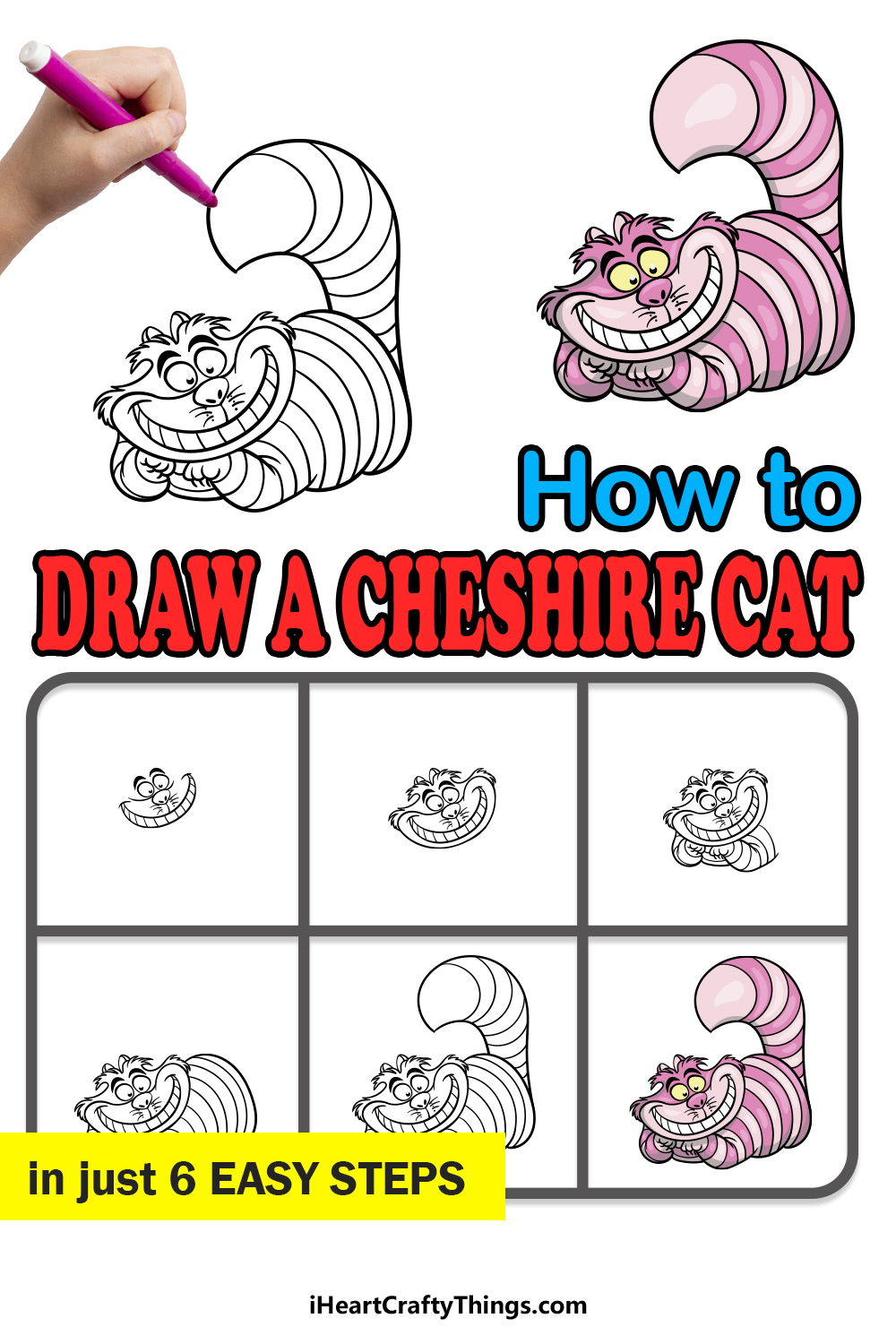 how to draw the Cheshire Cat in 6 easy steps