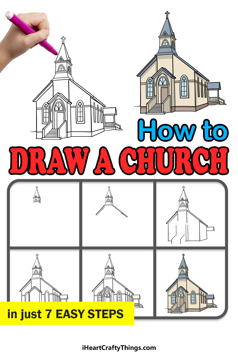 how to draw a church in 7 easy steps