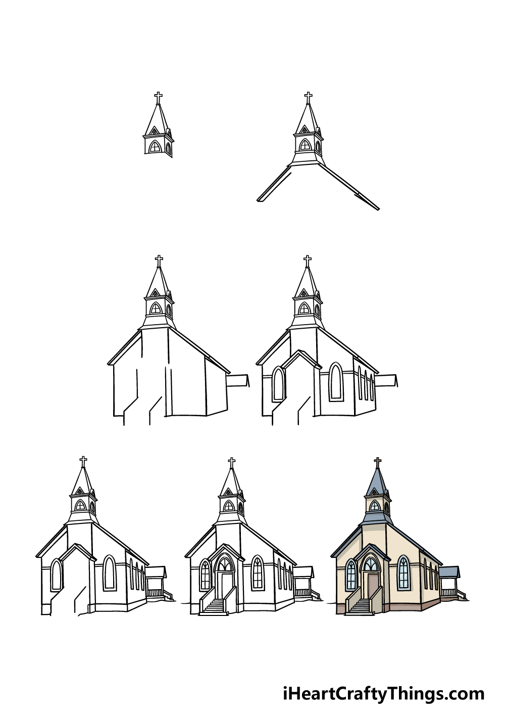 how to draw a church in 7 steps