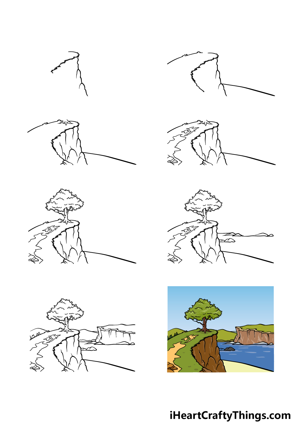 how to draw a cliff in 8 steps