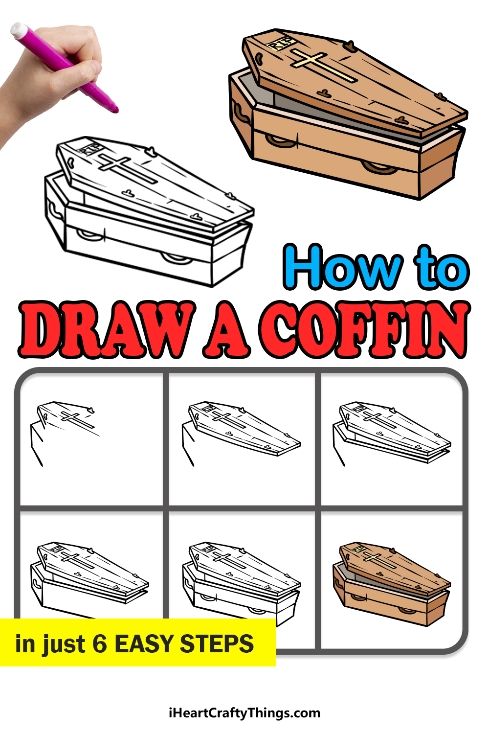 how to draw a coffin in 6 easy steps
