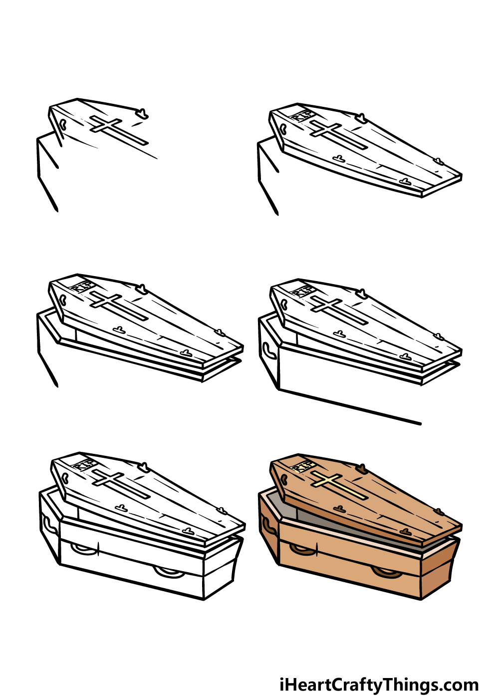 how to draw a coffin in 6 steps