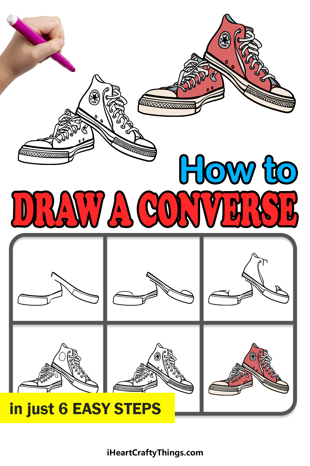 how to draw a converse in 6 easy steps