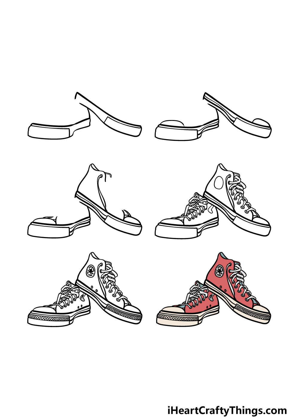 how to draw converse in 6 steps