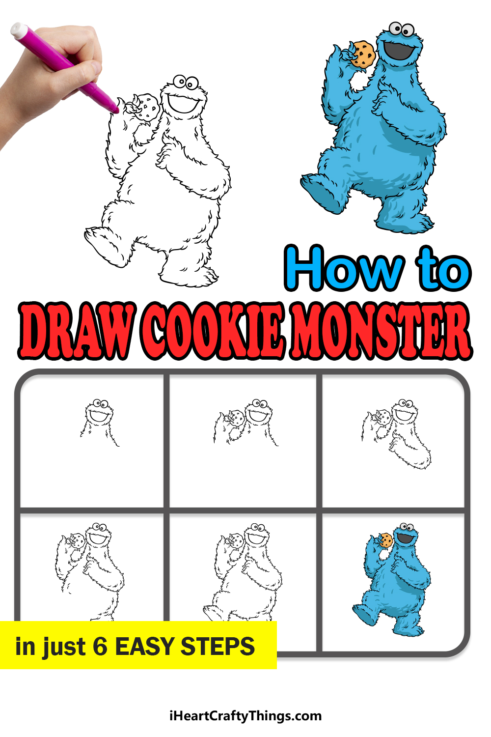 how to draw a cookie monster in 6 easy steps