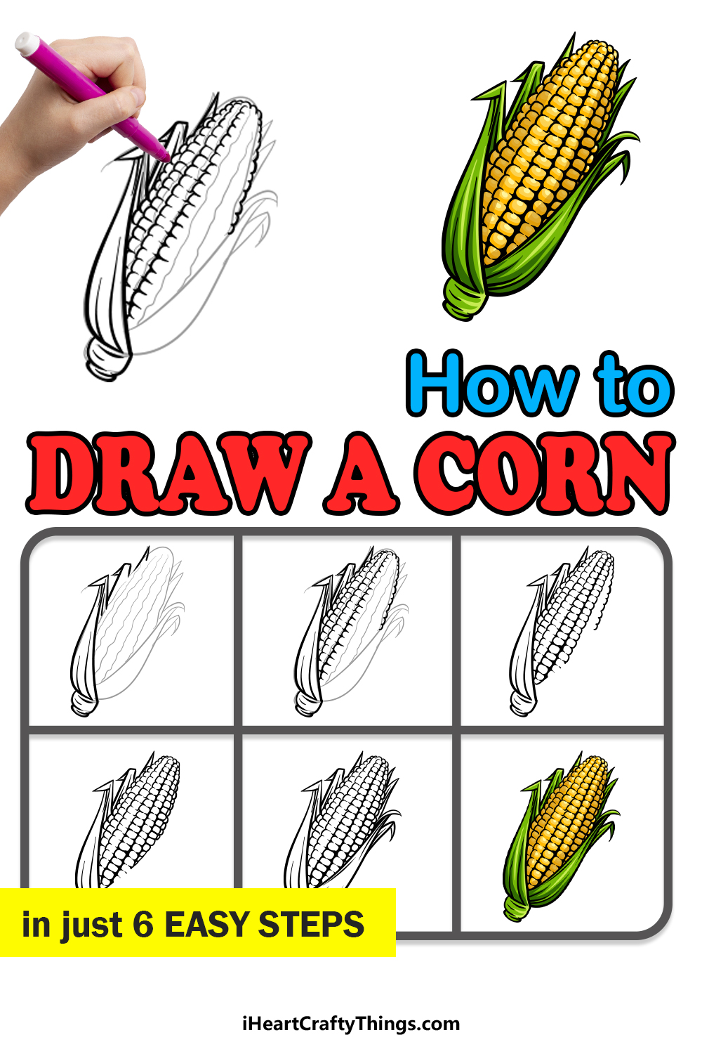 how to draw a corn in 6 easy steps