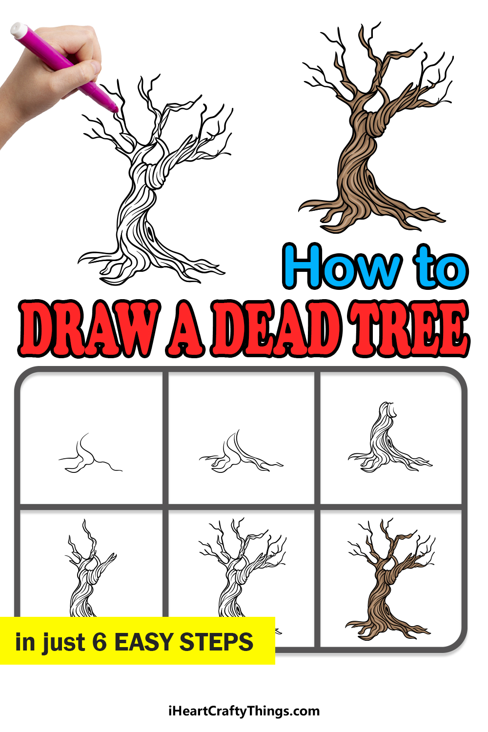 how to draw a dead tree in 6 easy steps