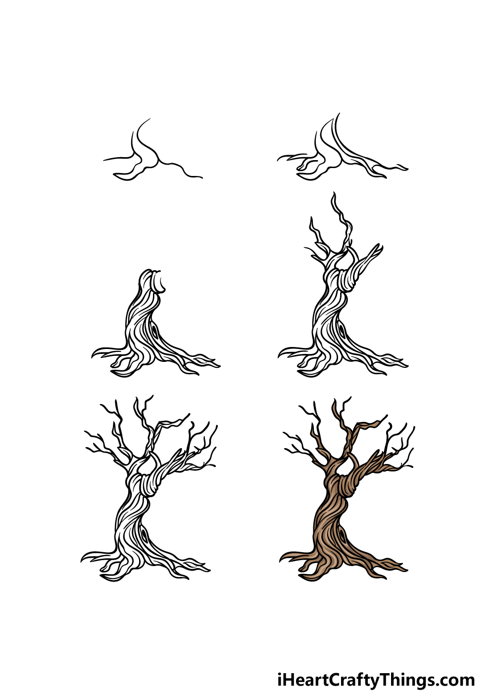 how to draw a dead tree in 6 steps