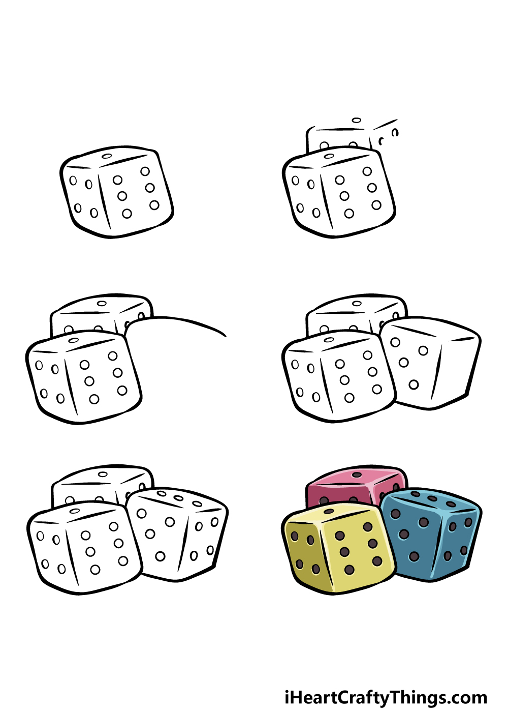 how to draw the dice in 6 steps