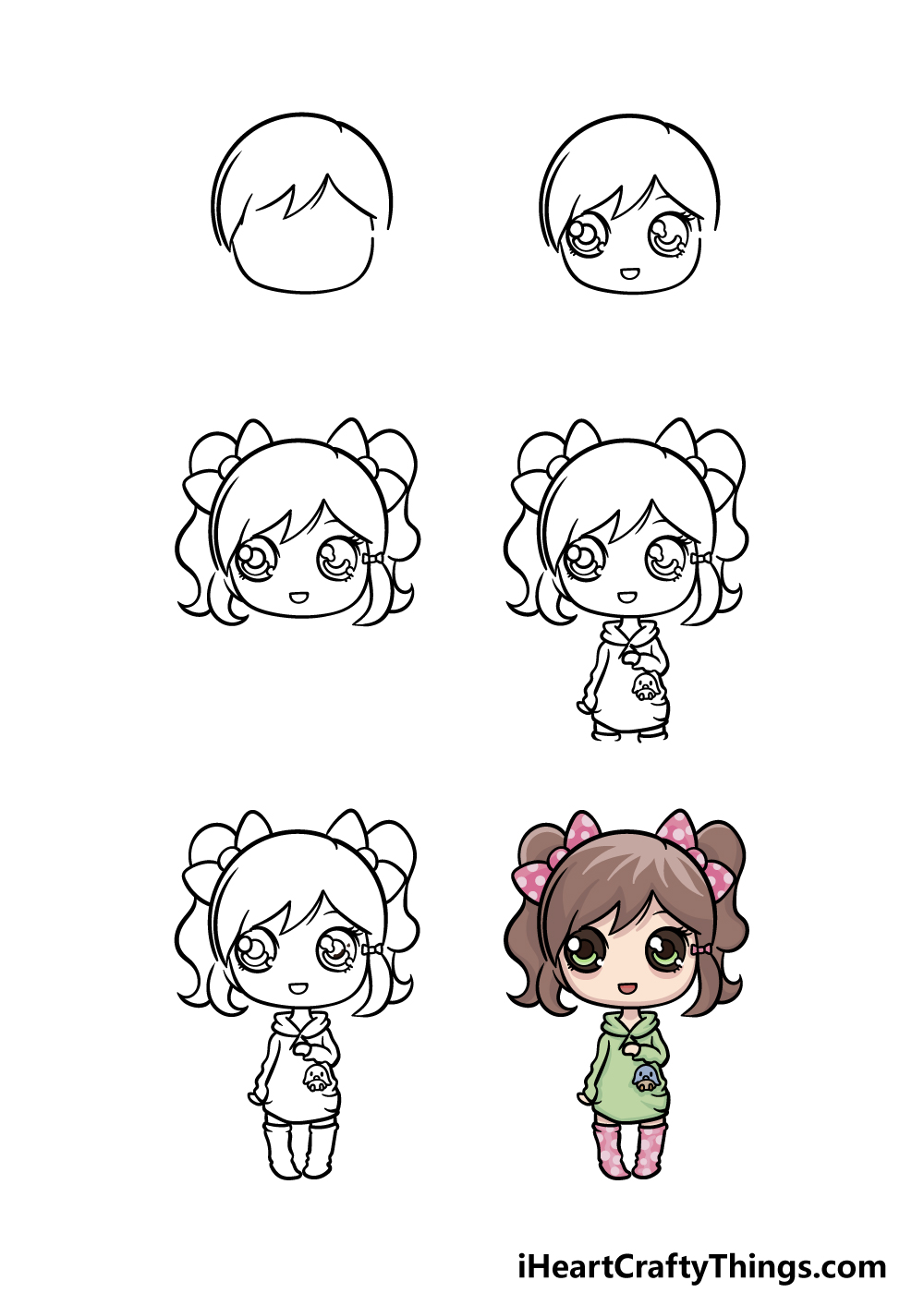 how to draw a doll in 6 steps