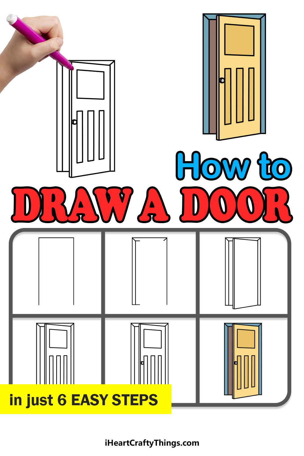 how to draw a door in 6 easy steps
