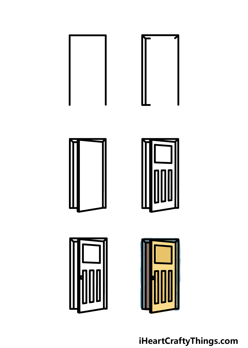 how to draw a door in 6 steps