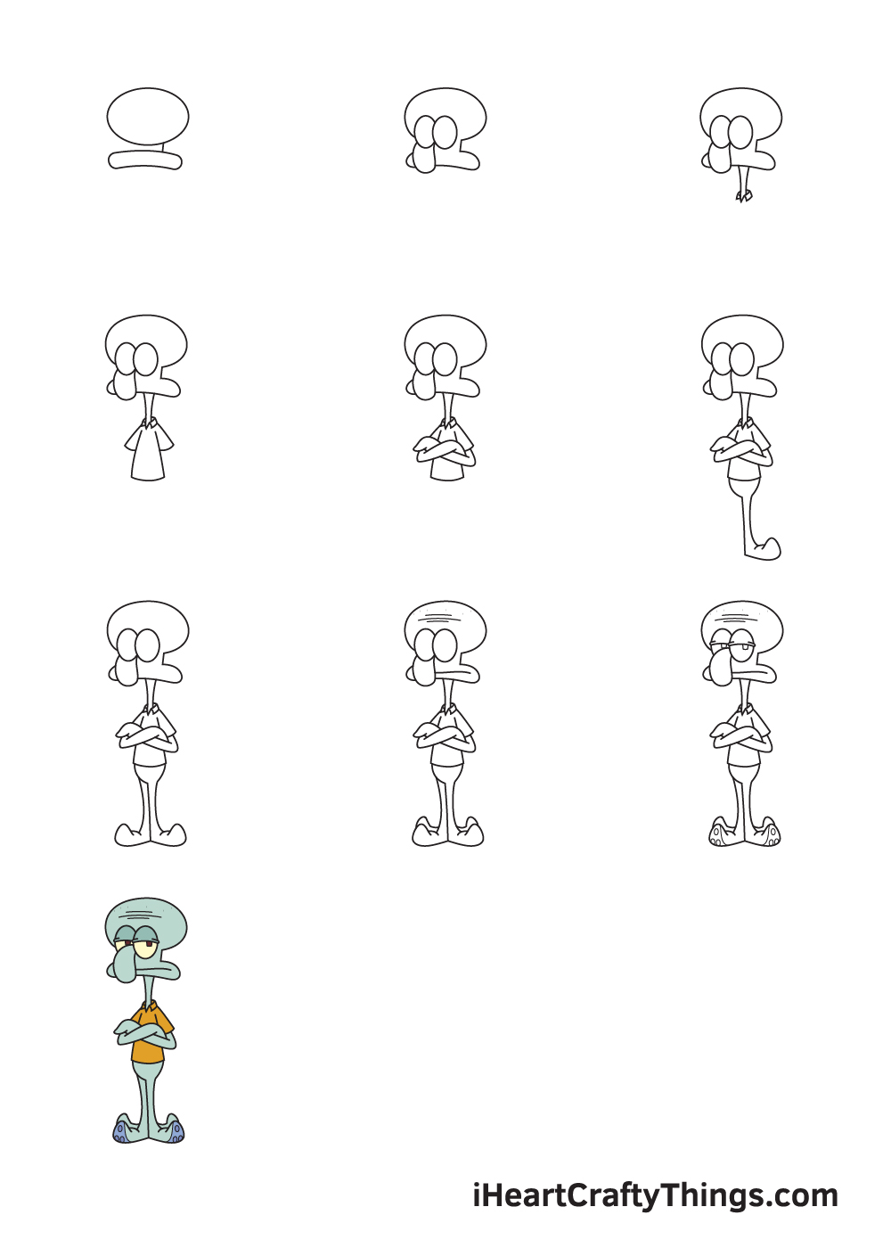 How to Draw Squidward in 9 steps