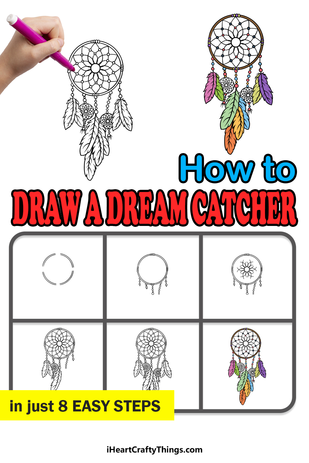how to draw dream catcher in 8 easy steps