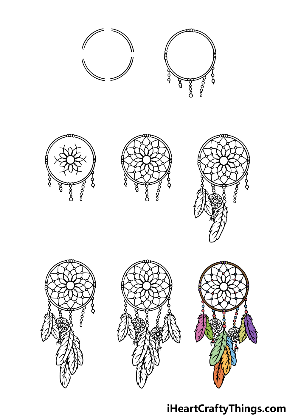 how to draw dream catcher in 8 steps