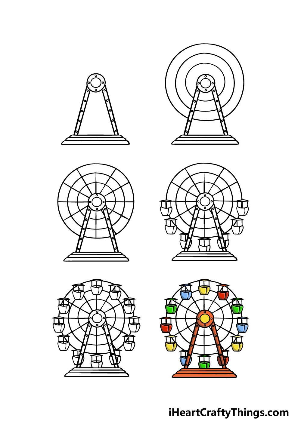 how to draw a Ferris Wheel in 6 steps
