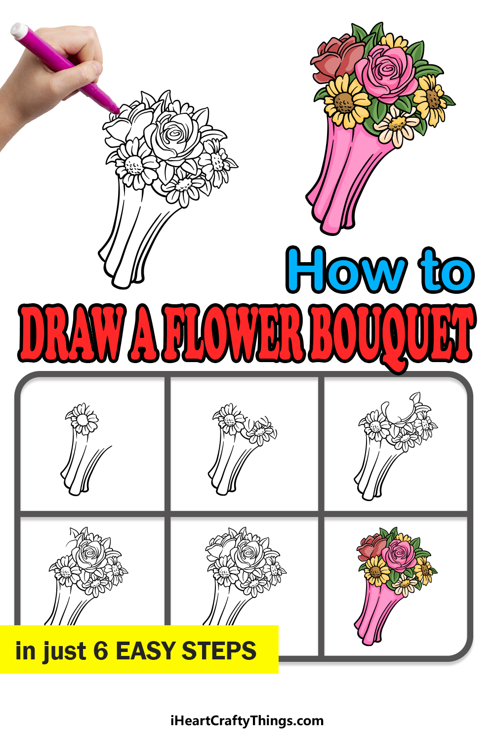 how to draw a flower bouguet in 6 easy steps