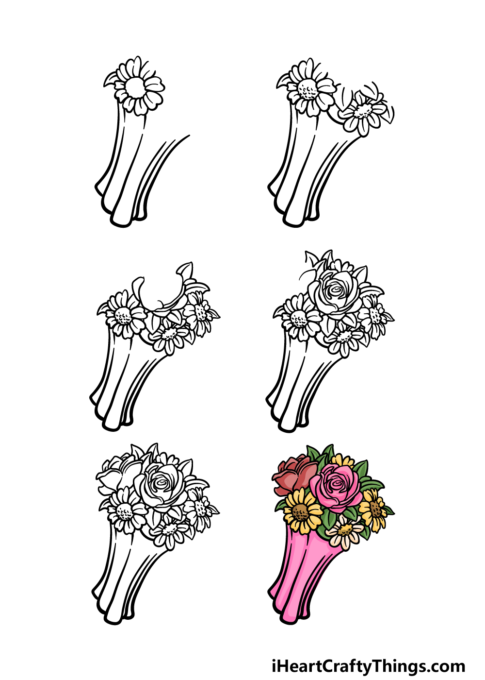 how to draw a flower bouquet in 6 steps