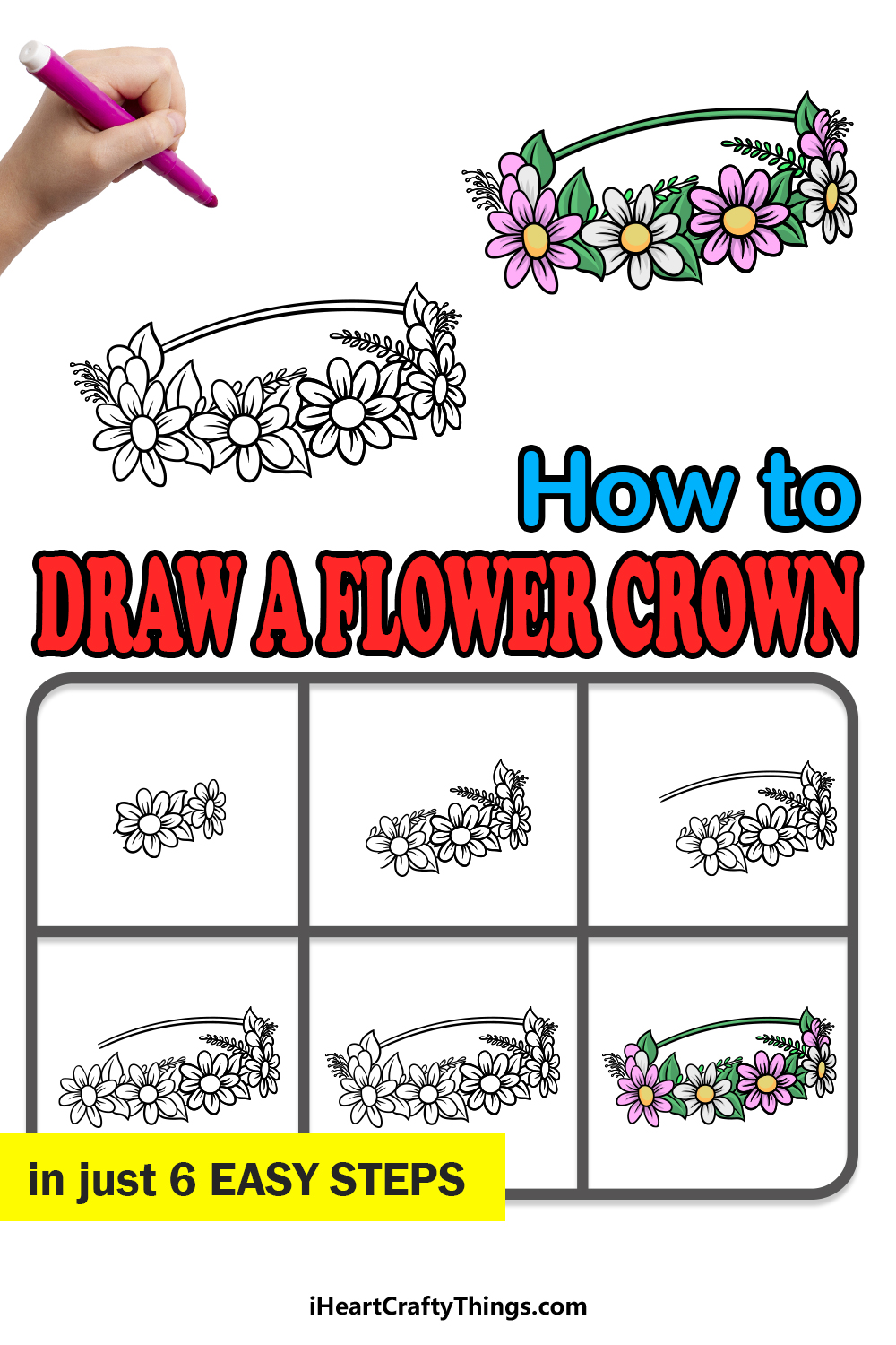 how to draw a flower crown in 6 easy steps