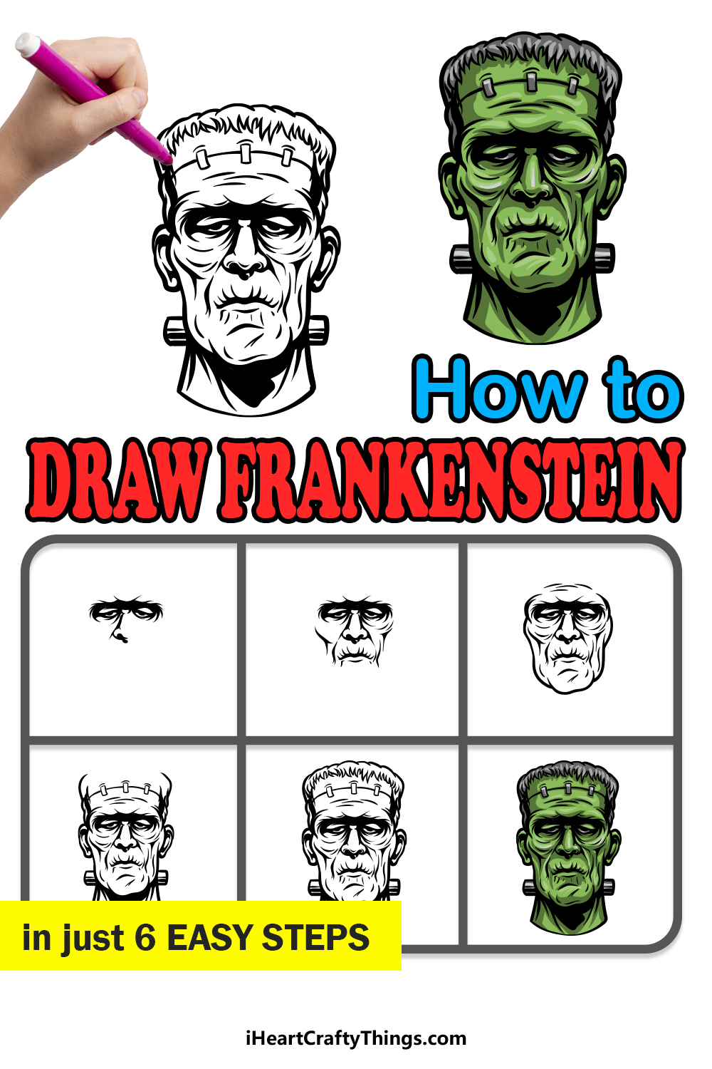 how to Draw Frankenstein in 6 easy steps