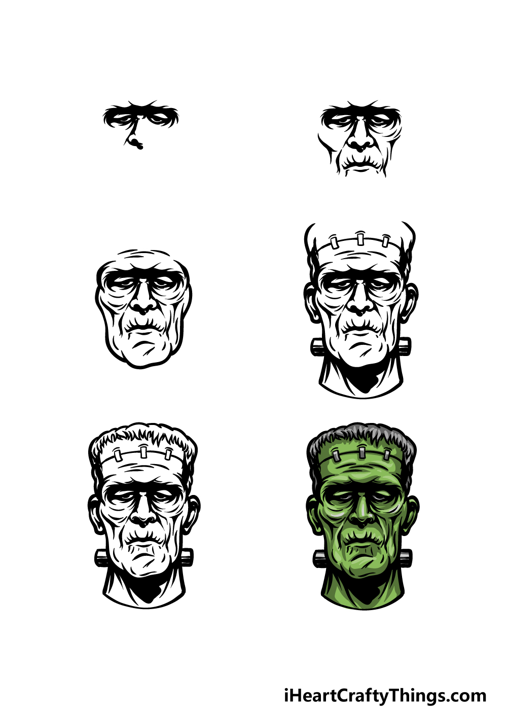 How To Draw Frankenstein in 6 steps