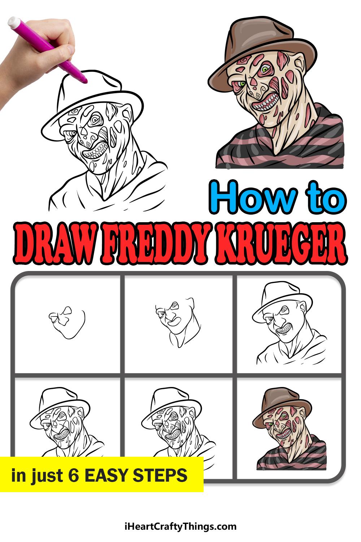 how to draw Freddy Krueger in 6 easy steps