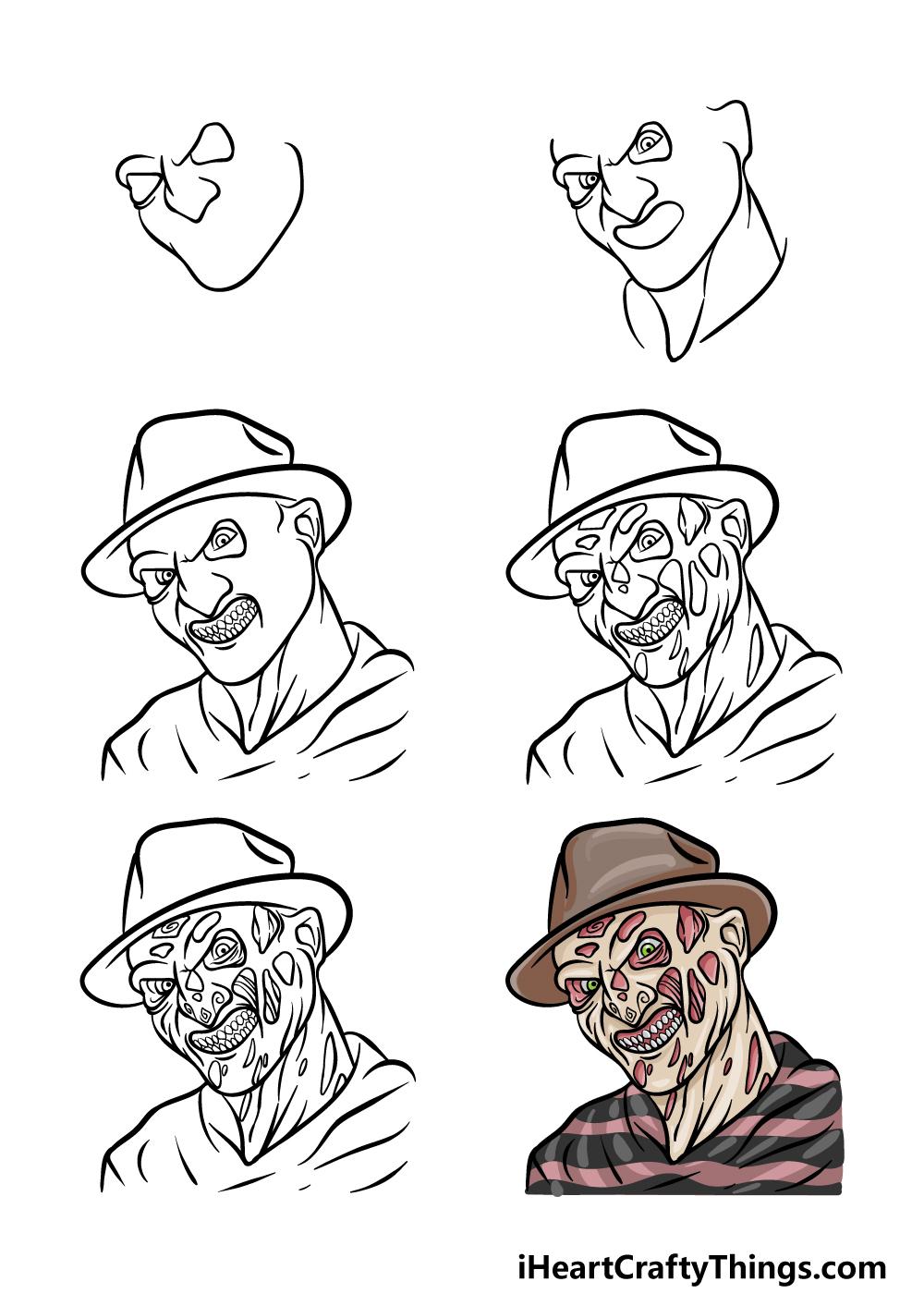 How To Draw Freddy Krueger in 6 steps
