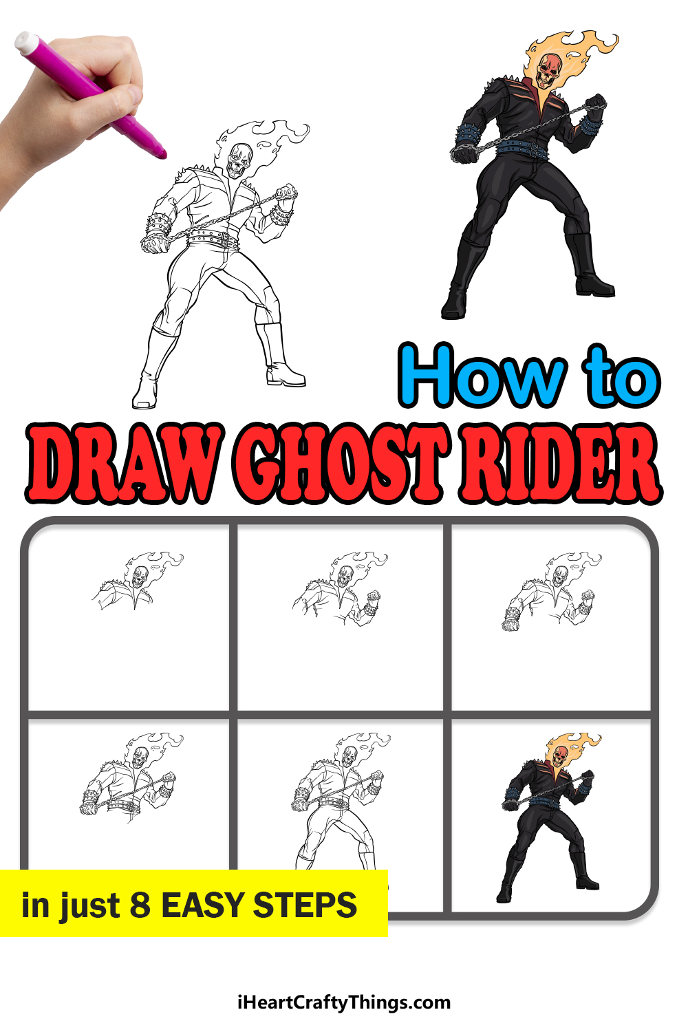 how to draw Ghost Rider in 8 easy steps
