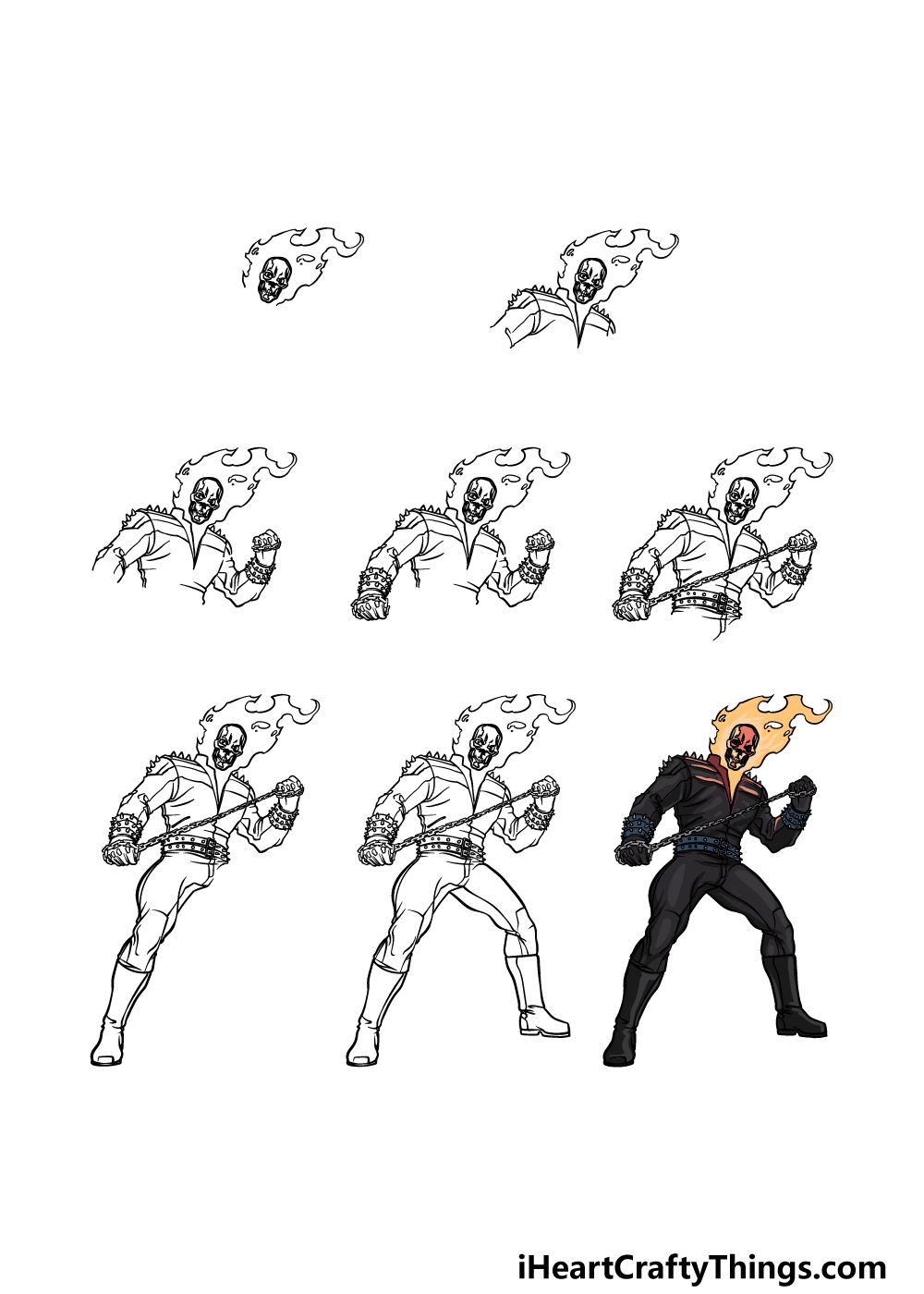 how to draw a Ghost Rider in 8 steps