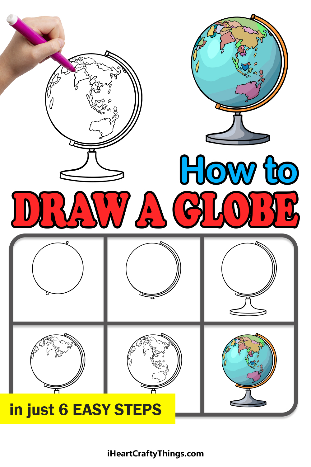 how to draw a globe in 6 easy steps