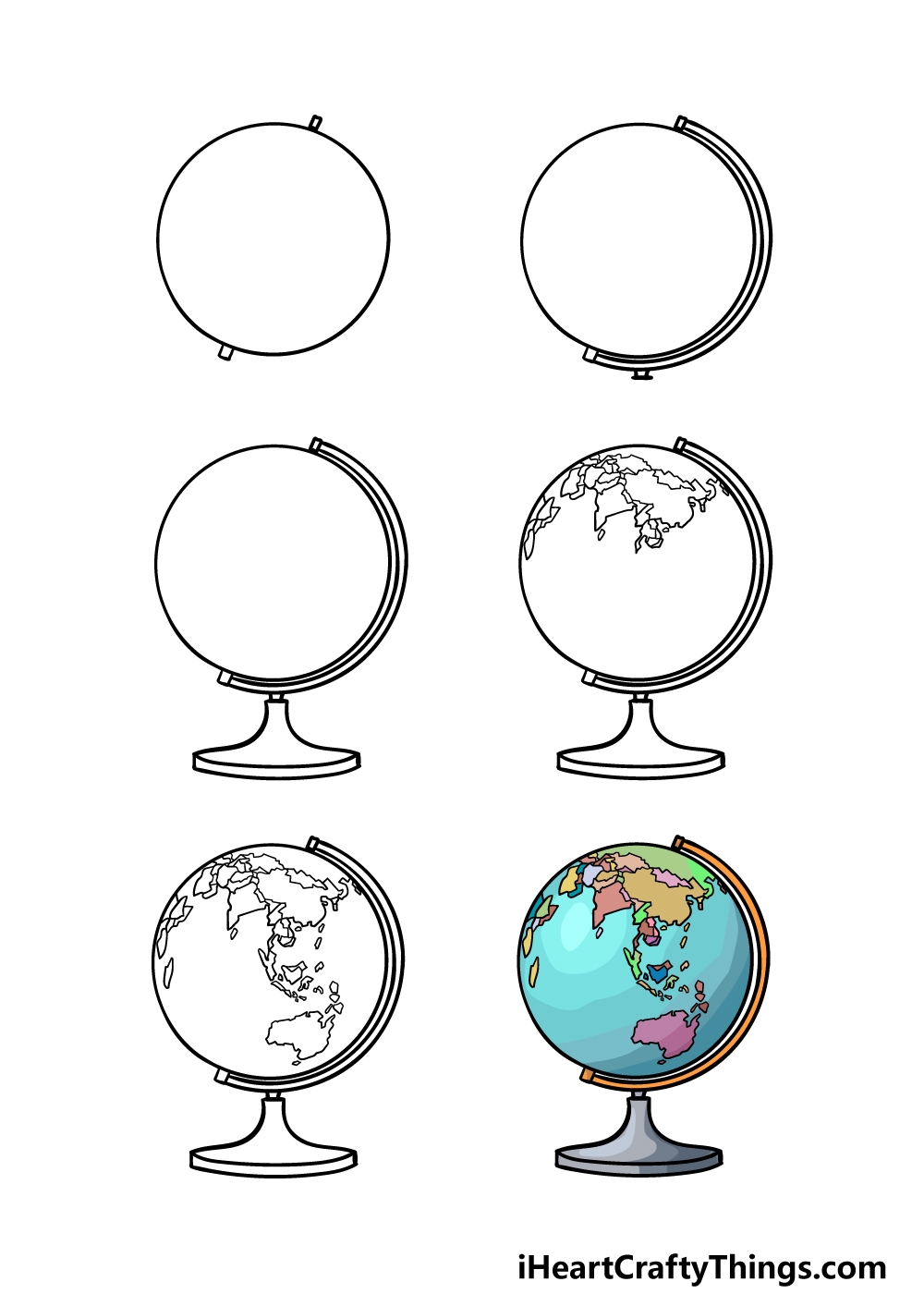 how to draw a globe in 6 steps