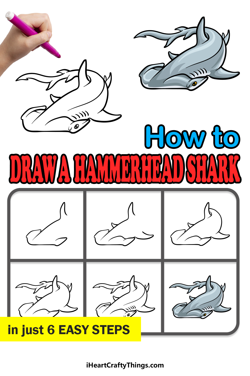 how to draw a hummerhead shark in 6 easy steps