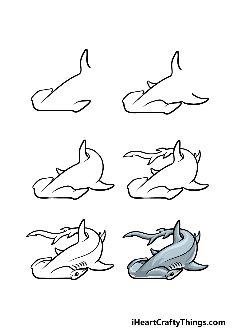 how to draw a hummerhead shark in 6 steps