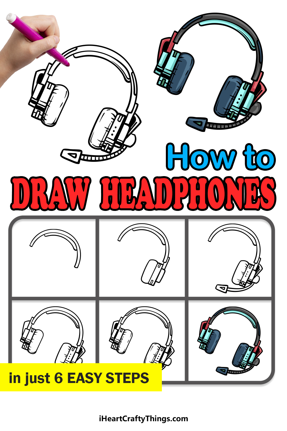 how to draw headphones in 6 easy steps