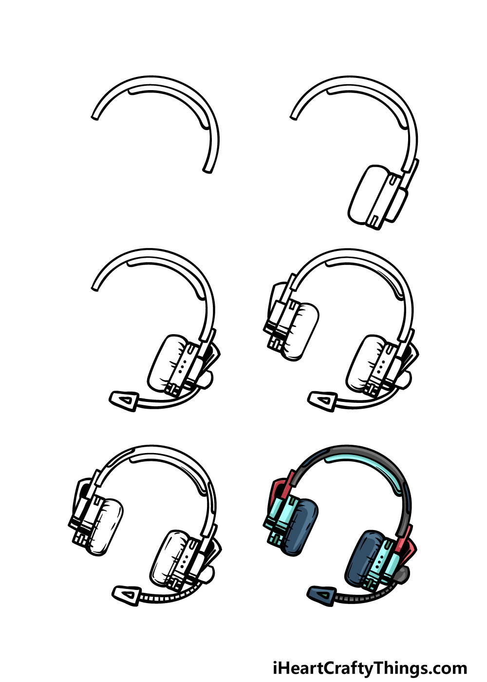 how to draw headphones in 6 steps