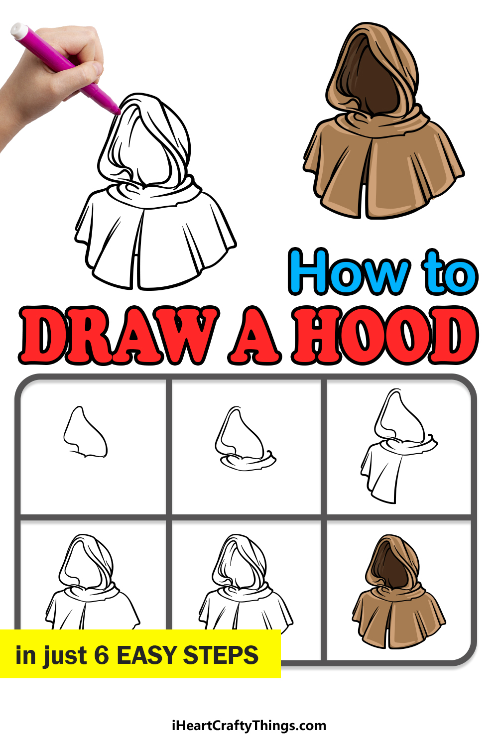 how to draw a hood in 6 easy steps