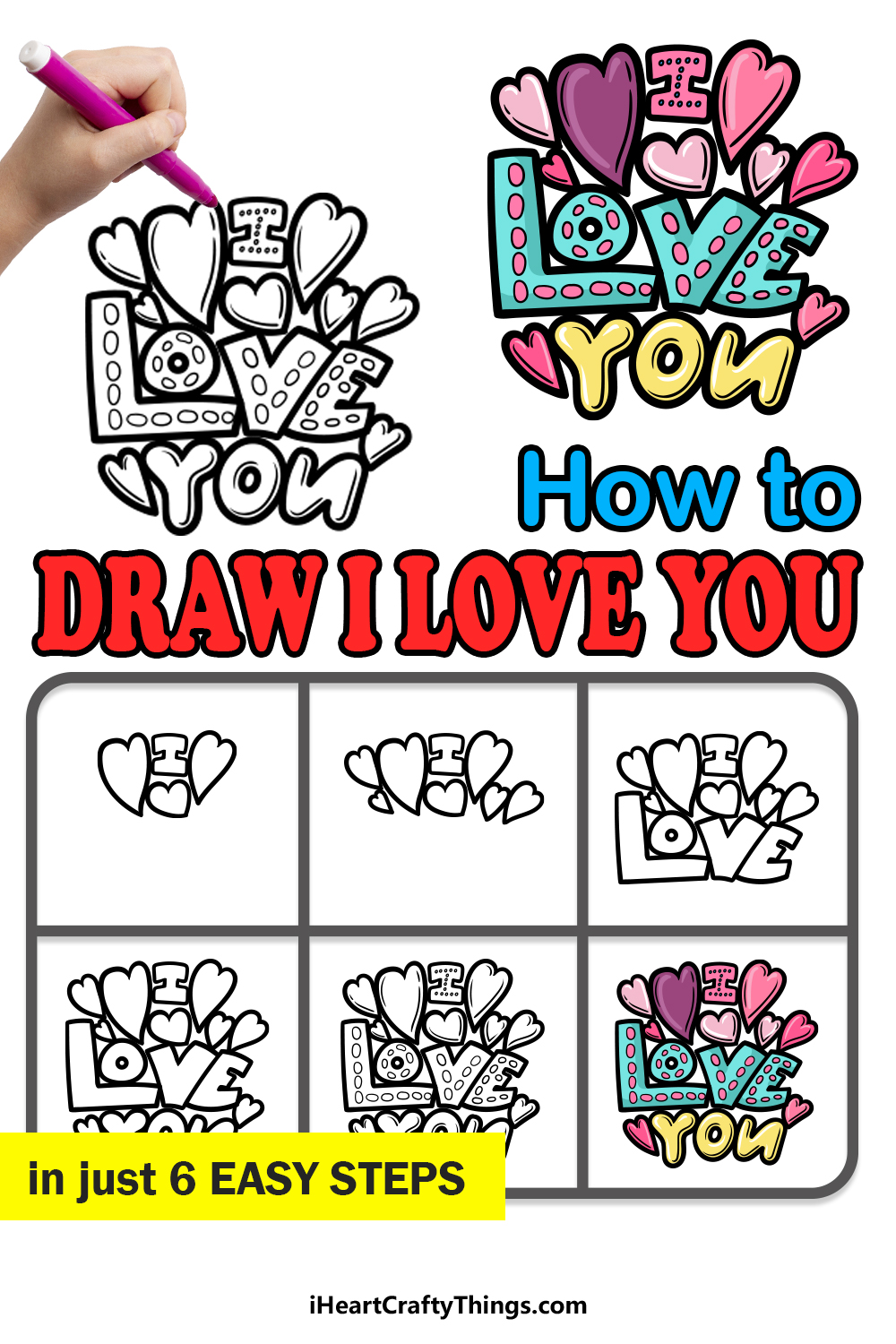 how to draw I Love You in 6 easy steps
