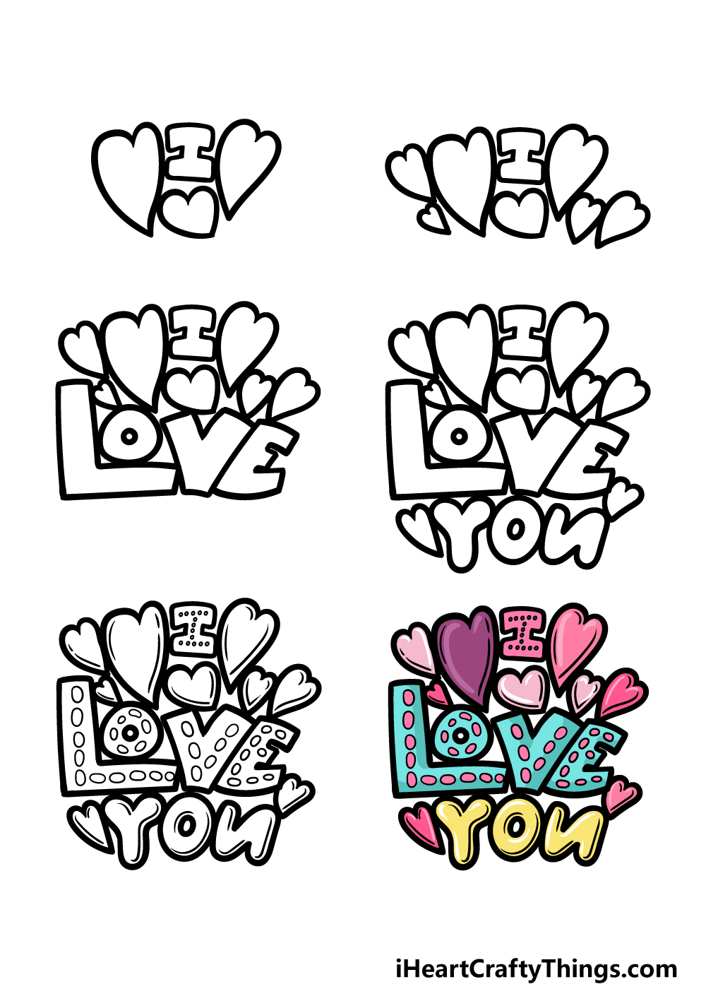 how to draw I Love You in 6 steps
