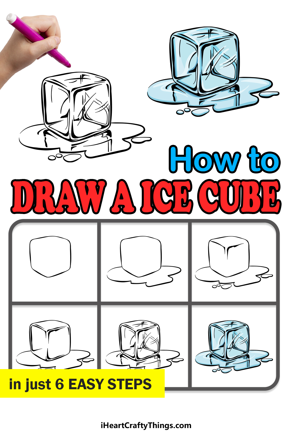 how to draw an ice cube in 6 easy steps