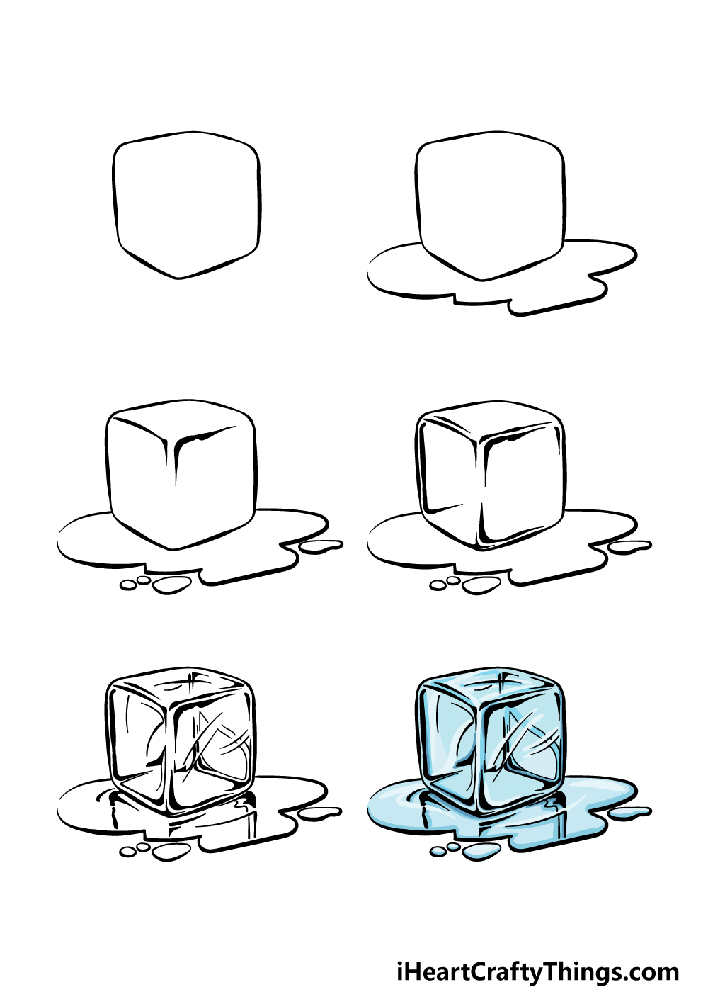 how to draw an ice cube in 6 steps