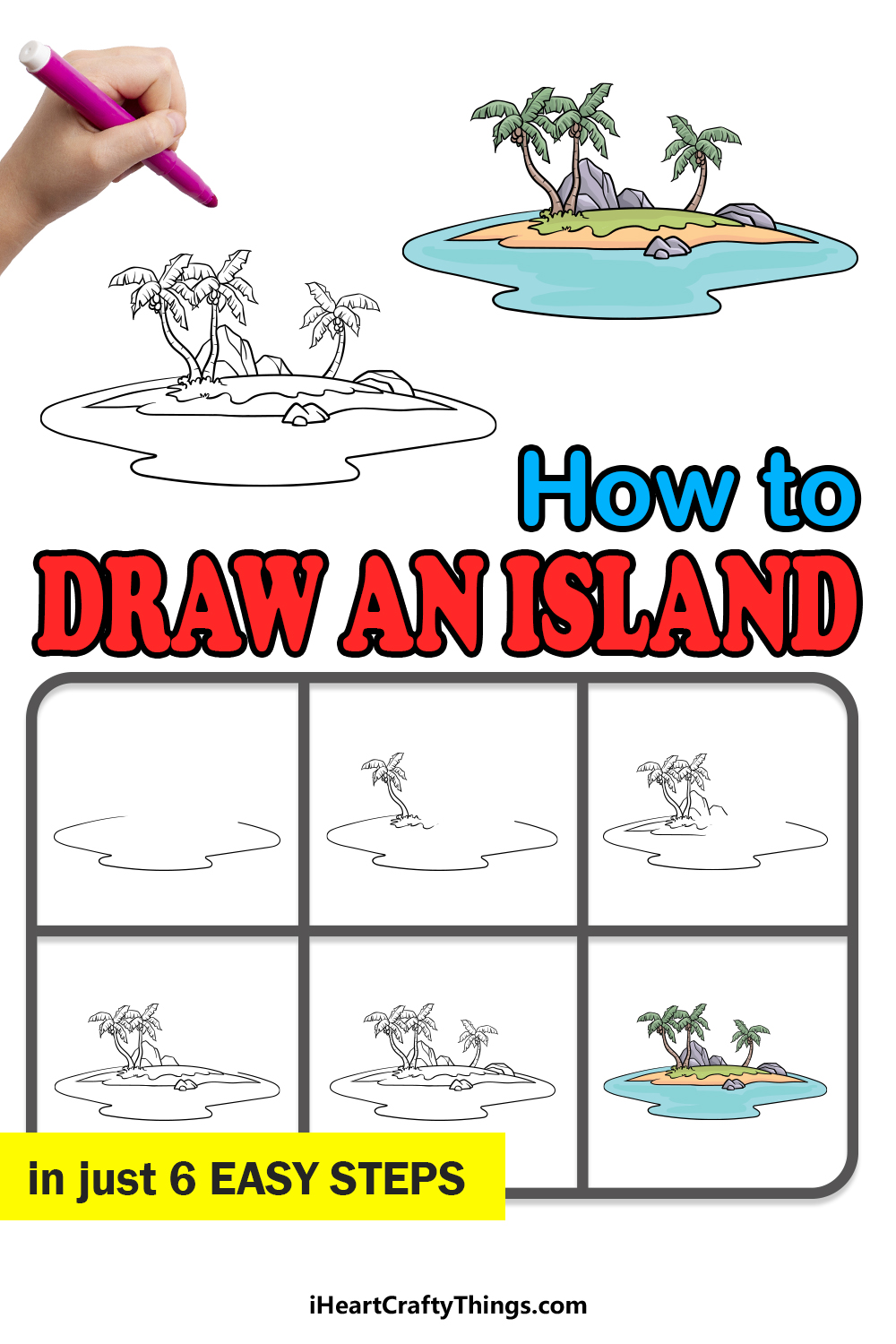 how to draw an island in 6 easy steps